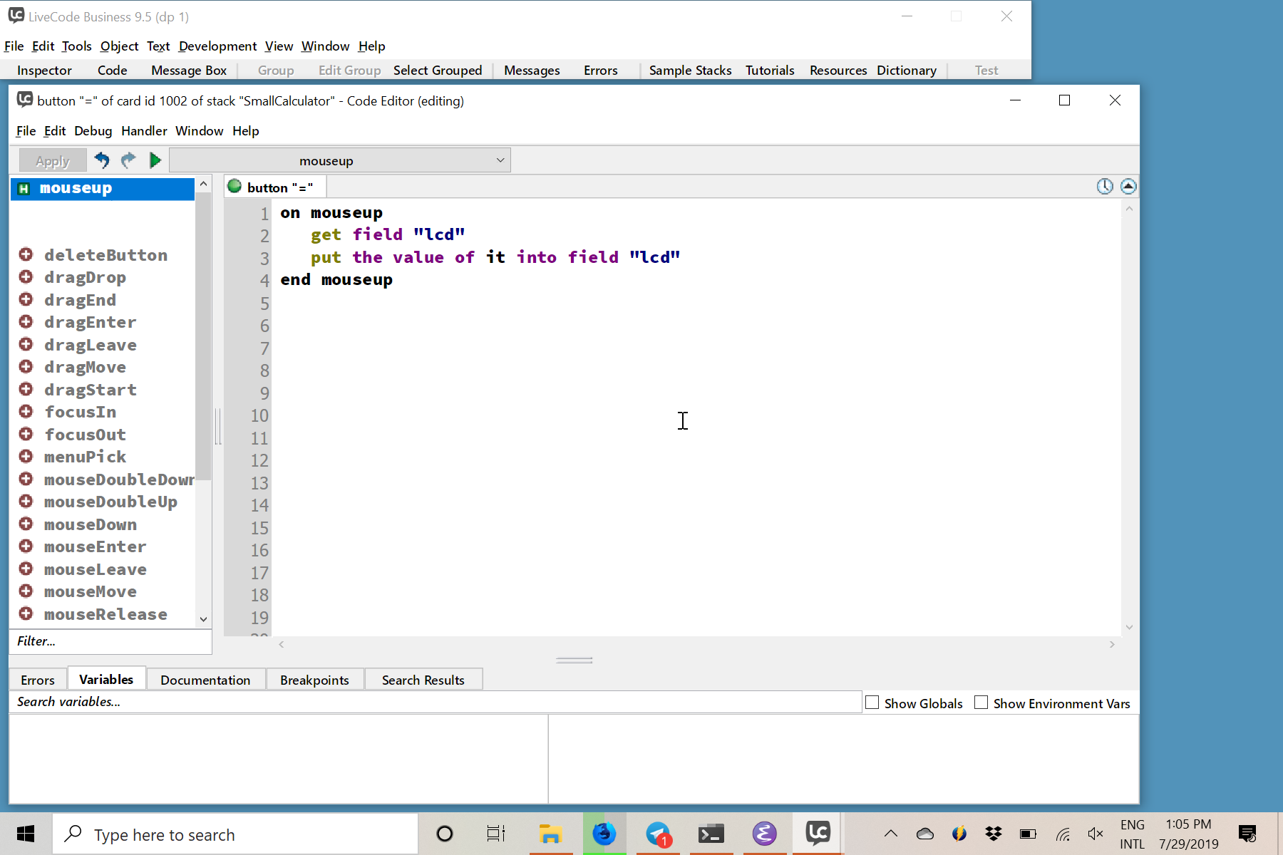 Script Editor showing the script for the _equal button_