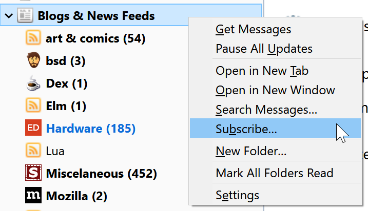 The contextual menu for a Feed account showing the subscribe option